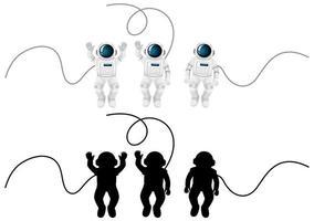 conjunto de personagens de astronautas e sua silhueta em fundo branco vetor