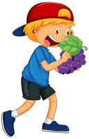 menino feliz segurando uva vetor