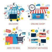 conjunto de compras e comércio eletrônico online