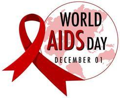 logotipo do dia mundial da aids ou banner com fita vermelha no mapa mundial bcakground vetor