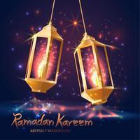 ilustração islâmica ramadan kareem com lanternas 3d. vetor