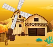 cenário de fazenda na natureza com celeiro e moinho de vento