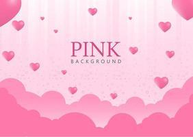 fundo rosa com balões de coração vetor