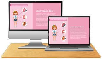 computador com infográfico de ciências na tela do desktop vetor