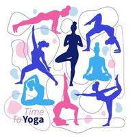 um conjunto de silhuetas de poses de ioga