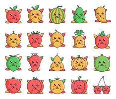 pacote de ícones de frutas com personagens fofinhos vetor