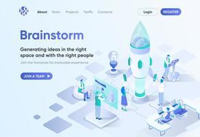 brainstorm, página de destino isométrica vetor