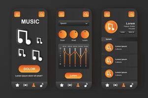 reprodutor de música, kit de design preto neomórfico exclusivo vetor