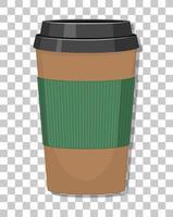 uma xícara de café de papel isolada em um fundo transparente vetor