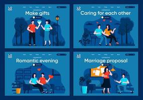 proposta de casamento, conjunto de páginas de destino planas vetor