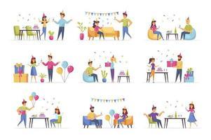 cenas de festa com pessoas vetor
