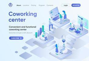 página de destino isométrica do centro de coworking vetor