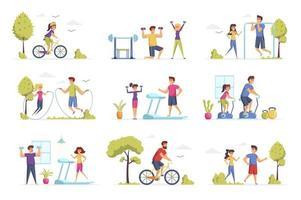 Conjuntos de cenas de fitness com pessoas