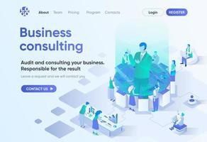 página de destino isométrica de consultoria de negócios vetor