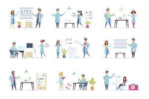 cenas de medicina combinadas com personagens de pessoas vetor