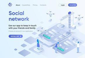 rede social, página de destino isométrica vetor