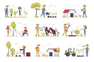cenas de fazendeiros se juntam a personagens de pessoas vetor