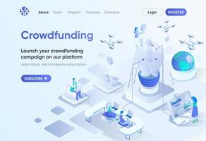 página de destino isométrica da plataforma de crowdfunding vetor