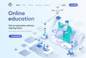 educação online, página de destino isométrica
