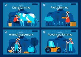 agricultura avançada, conjunto de páginas de destino planas vetor