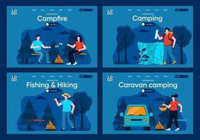 acampamento de caravana, conjunto de páginas de destino planas vetor