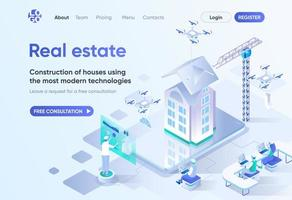 imobiliário, página de destino isométrica vetor