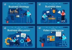 estratégia de negócios, conjunto de páginas de destino planas