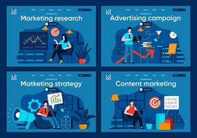 pesquisa de marketing, conjunto de páginas de destino planas vetor