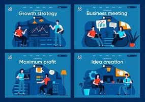reunião de negócios, conjunto de páginas de destino planas