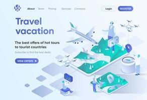 viagem férias, página de destino isométrica
