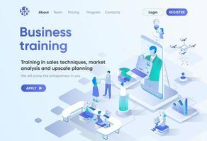 página de destino isométrica de treinamento empresarial