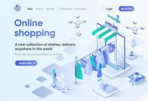 compras online, página de destino isométrica vetor