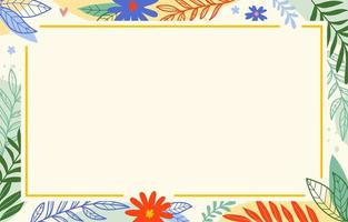 fundo com borda de elementos florais vetor