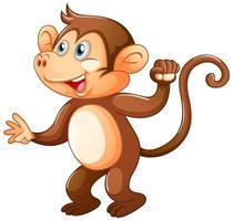 um macaco fofo em fundo branco vetor