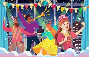 ilustração de festa interna de pessoas comemorando ano novo