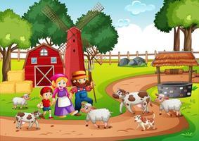 cena de rima de berçário de fazenda