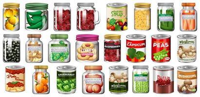 conjunto de comida enlatada e comida em potes vetor