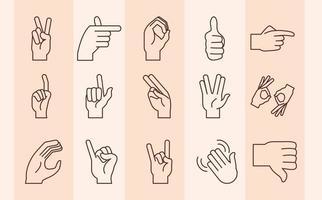 linguagem de sinais e coleção de ícones de gestos com as mãos vetor