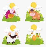 conjunto de animais de fazenda fofos vetor