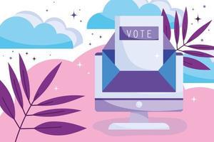 registrando-se online para votar conceito vetor