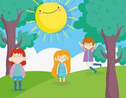 meninos e menina felizes no parque vetor