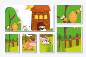 cartões fofos de animais de fazenda vetor