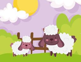 ovelha fofa em uma fazenda vetor