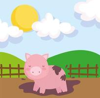 Porco fofo de fazenda na lama vetor