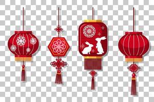 conjunto de lanterna chinesa pendurado isolado em fundo transparente vetor