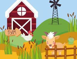 animais fofos em uma fazenda vetor