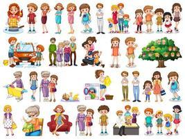grupo de personagens familiares vetor