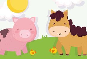 porco e cavalo fofos em uma fazenda vetor