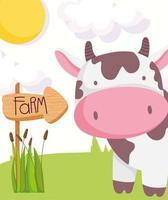 vaca fofa com placa de madeira, animais de fazenda vetor