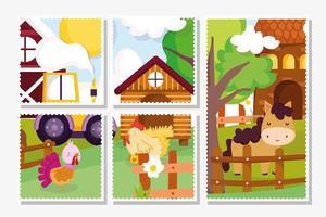 cartões fofos de animais de fazenda